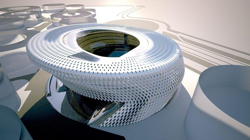 Edificio futurista de arquitectura sostenible en Madrid