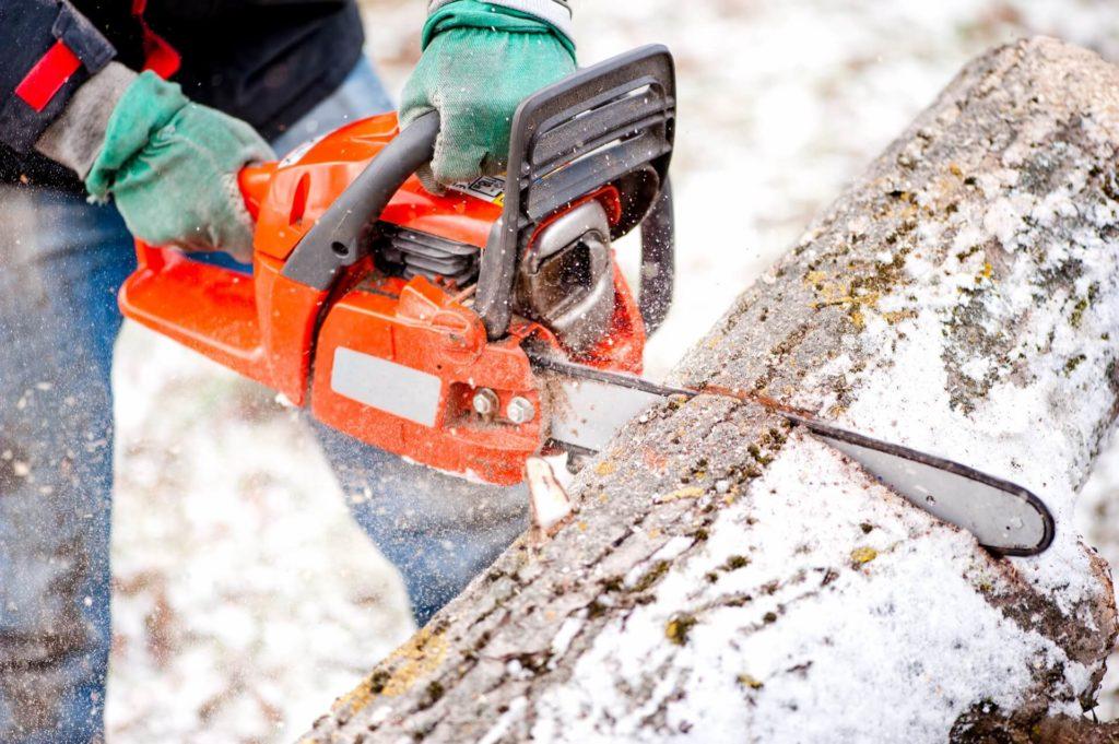 Hombre cortando un tronco con una motosierra eléctrica